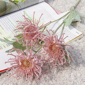 Flocked Leucospermum Artificial Flowers for Wedding decoration flores artificiales plastic fake flower plant fleur artificielle(China)