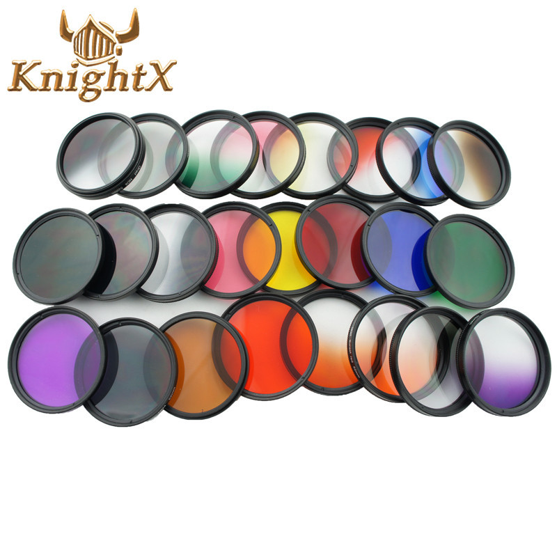 KnightX Color Lens gegradueerd uv Filter Rood ND Voor Canon nikon d3200 d3300 d5500 d5300 1200D 750D 700D Camera 52MM 58MM 52 58 mm