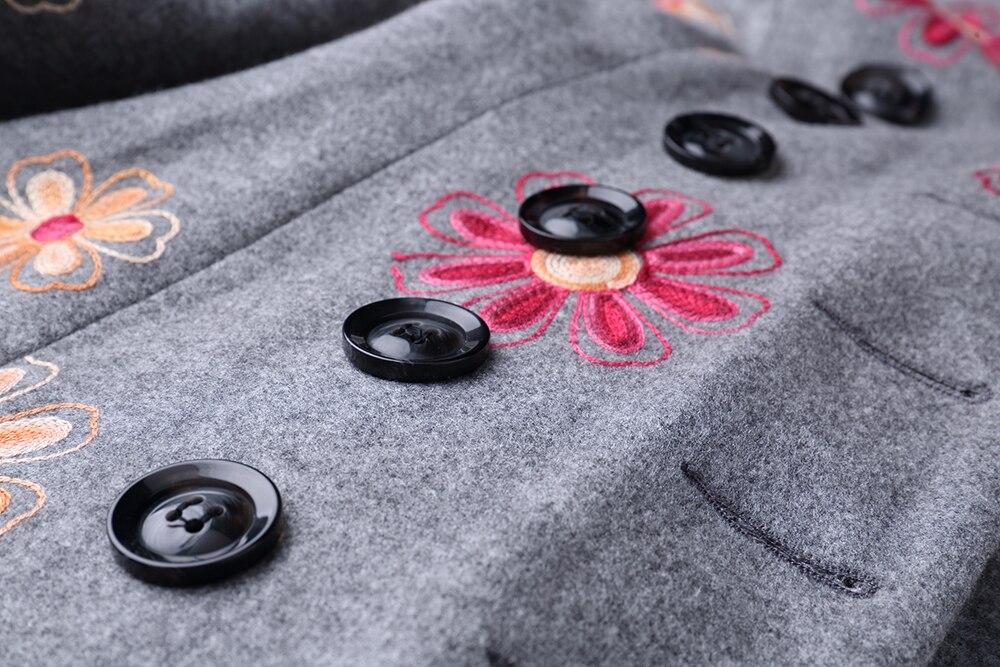 Cachemire Manteau Winterdouble Fleur Taille D'affaires Mélanges Décontracté Vintage Travail Mince De Femmes Jupe Broderie Breasted Grande Laine xWwU4qw8Tp