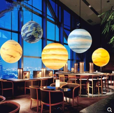 Nordic Creative Universe Planet Acrylic Pendant Light Moon Sun Earth Mars Uranus Mercury bedroom children room hunging lampPendant Lights   -