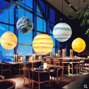 Image 1 - Nordic Creative Universe Planet Acrylic Pendant Light Moon Sun Earth Mars Uranus Mercury bedroom children room hunging lamp