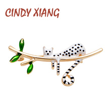 CINDY XIANG White With Black Spot Cat Brooches Playing on Tree Kitty Pin Cute Design Summer Style Wedding Kids Jewelry Gift