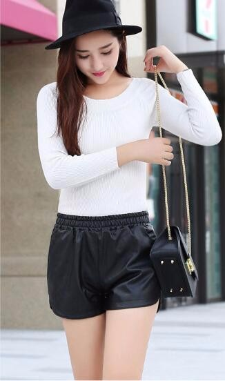 New PU Leather Shorts Women's Black High Quality Short Pants With Pockets Loose Casual Shorts