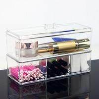 Transparent double layer makeup storage box acrylic plastic box earrings organizers desk orgainzer