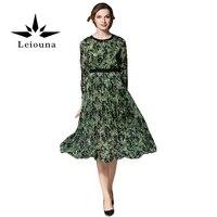 Leiounaファッションプリーツ生地ラウンドネック快適な気質グレースシフォンプリント花グリーン春女