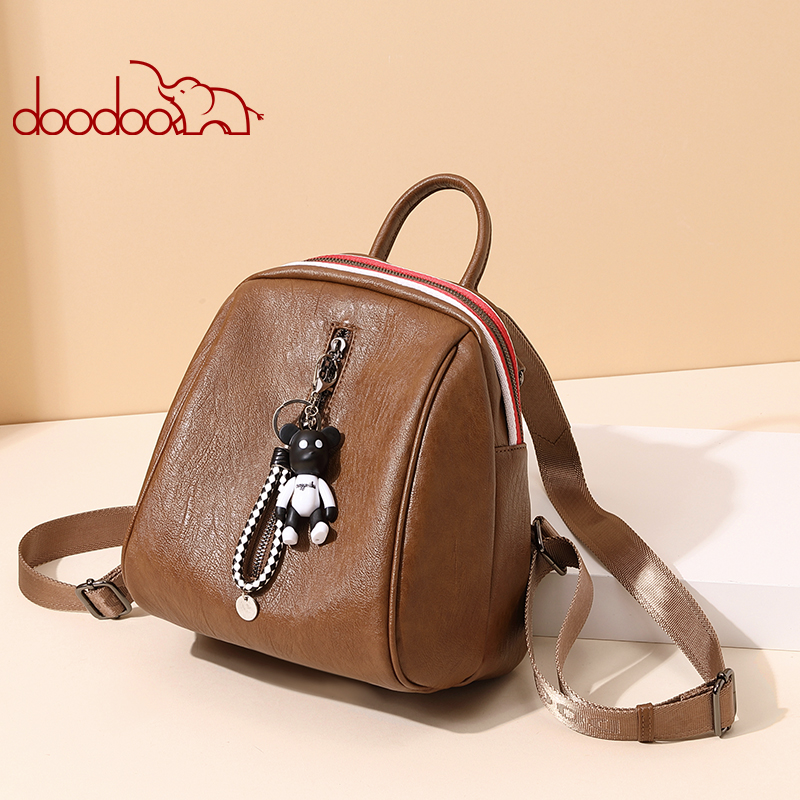 DooDoo backpack female  version of the 2018 new soft leather backpacks casual trend fashion personality bags bear travel bag rdgguh backpack bag new of female backpack autumn and winter new students fashion casual korean backpack