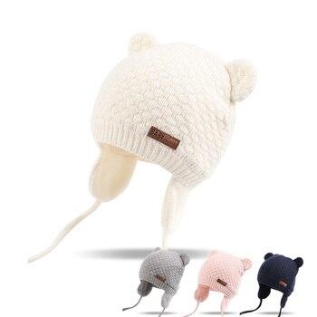 אוזני דוב חמוד תינוק כובע רך כותנה יילוד תינוק כפה שכבה כפולה חם חורף כובע עבור תינוק בנות בני סרוג ילדים כובעי חדש