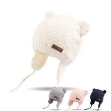 Bear Ears Cute Baby font b Hat b font Soft Cotton Newborn Baby Beanie Double Layer