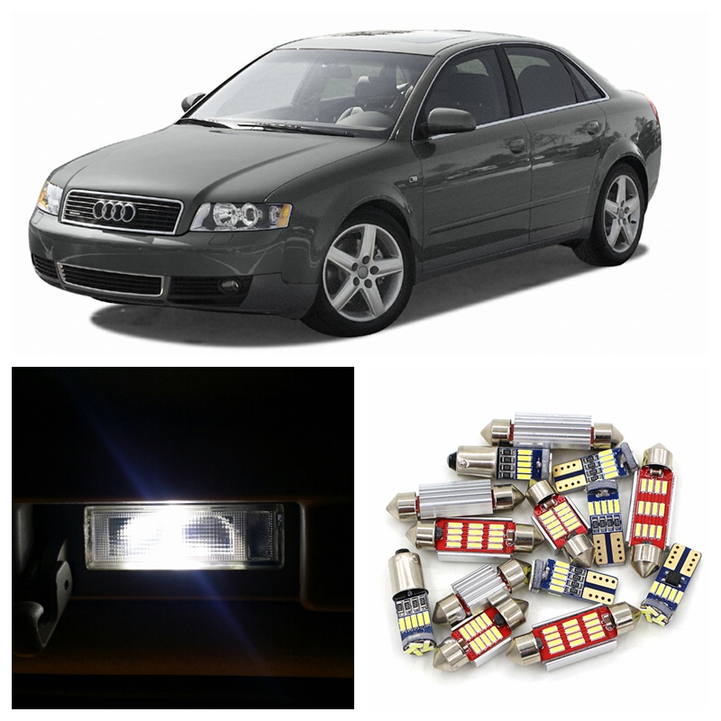 12pcs White Canbus Car Super Bright LED Light Bulbs Interior Package Kit For 2001-2004 Audi A4 B6 8E Map Dome Trunk Lamp free shipping 60 17x a4 s4 b5 1998 2001 white led lights interior package kit canbus