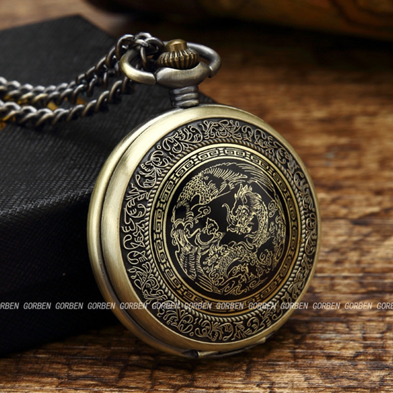 Antique Bronze Chinese Flying Dragon Phoenix Quartz Pocket Watch With Chain Clock Necklace Pendant Women Men Gift