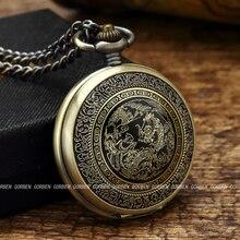 d0108f40fb9 Bronze antigo Chinês Flying Dragon Phoenix Relógio de Quartzo Relógio de  Bolso Com Corrente Colar Pingente Mulheres Homens Prese.