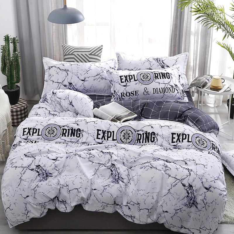 White Marble Patterm 34pcs Bedding Set Flat Sheet Pillowcase Duvet Cover Sets Soft Bed Linen  Home Textile DropShipping