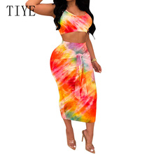 TIYE Summer Women Elegant Casual Two Pieces Sets Dress Hollow Out Sleeveless Bodycon Bandgae Vintage Bohemian Print