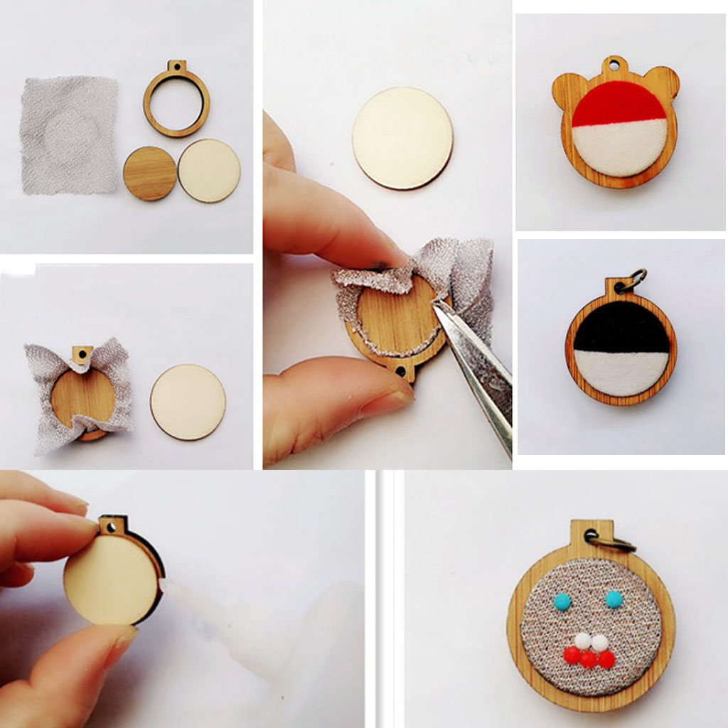 DIY Mini Embroidery Hoop Wooden Frame Hand Cross Stitching Hoop Framing Crafts