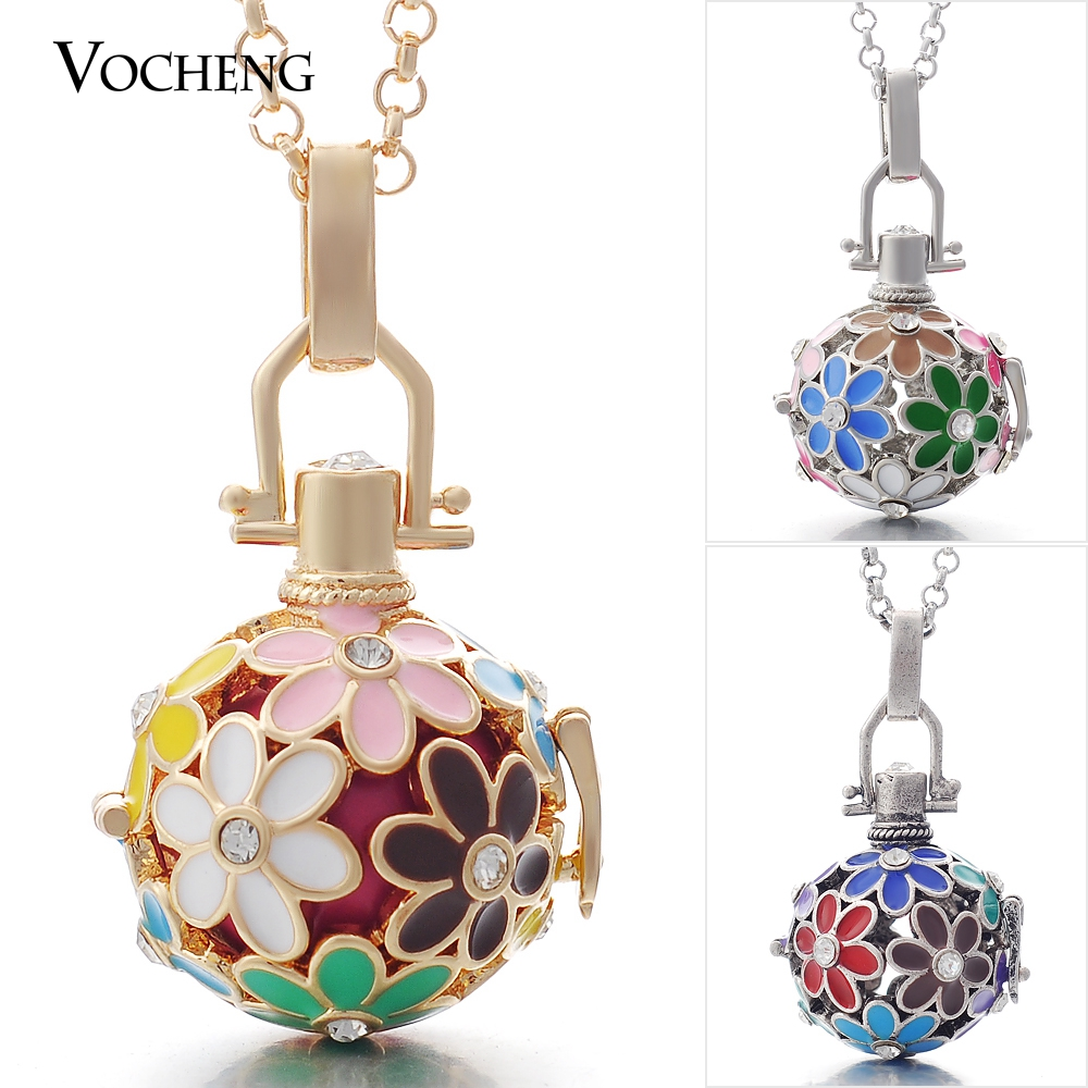 10pcs/lot Vocheng Angel Ball 3 Colors Copper Metal Flower Necklace Oil Scent Locket with Stainless Steel Chain VA-046*10