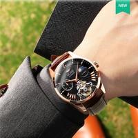 Luxury Brand Swiss AILANG Men Auto Wind Waterproof Automatic Steel Black Dial Mechanical Tourbillon Watch