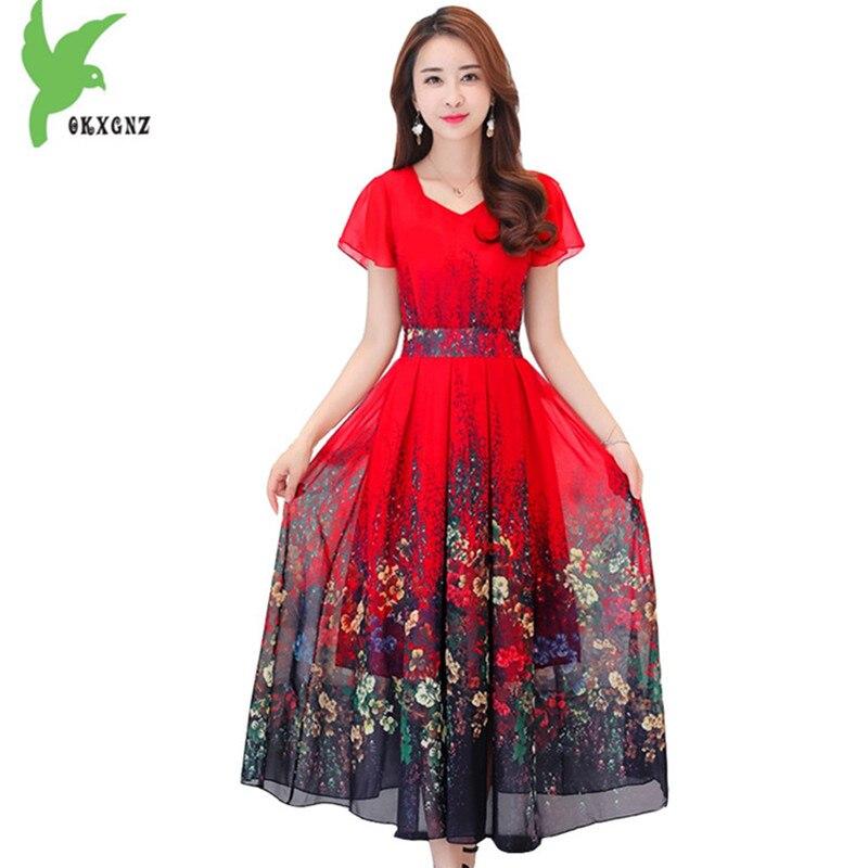 Nouvelle grande taille 4XL bohème robe d'été femmes imprimé longue robe à manches courtes bord de mer vacances ver à soie robe en soie OKXGNZ1598