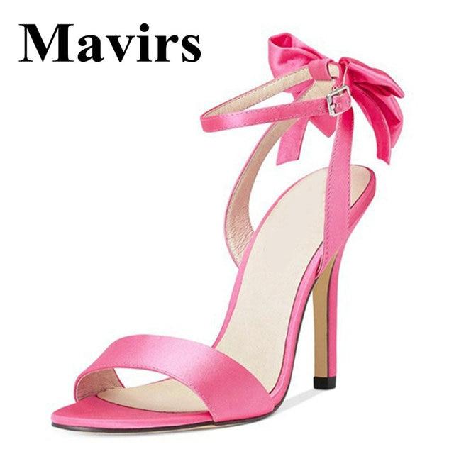 63d9b51b0 MAVIRS Brand High Heels Sandals Women Shoes 2018 Summer Bow-tie Ankle Strap  12CM Stilettos