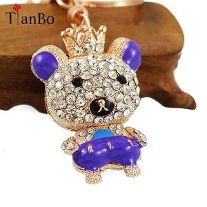 ¡Novedad de 2018! oso y llaveros de cristal con corona de diamantes de imitación, soporte para llavero, colgante de bolsa de regalo para mujer, llaveros de coche