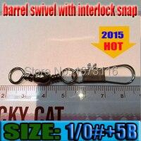 2015 Fish Connector Barrel Swivel With Interlock Snap Size 1 0 5B Quantily 30pcs
