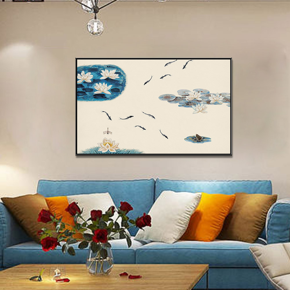 Unframed Canvas Prints Lotus Pond Scenery Watercolour Giclee Wall Decor Living Room Decoration Mural Module Art Spray Painting