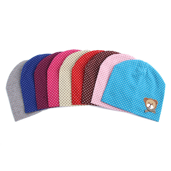 2017 Winter Dot Pattern Baby Hat Knitted Baby Beanies For Child Kids