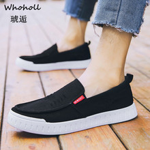 Whoholl Brand 2019 Men Summer Comfortable Casual Shoes Slip-on Breathable Canvas Flats Trainers Sneakers Water Loafers Size 44 runner print slip on water trainers