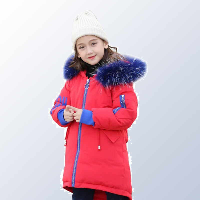 Teen Girls Winter Jacket with Fur Collar Children Boys Parka Clothes 2018 Long Warm Hooded Cotton Coats Big Size 8 10 12 14 Year winter long thicken cotton coats women fashion print parka 15 colors hooded warm big size clothing high quality jecket lf207 621