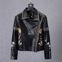 Metall rive 2019 Marke PU Leder Jacke Für Männer Fitness Wildleder Casaco  Mantel Lässig Männlich Stickerei 95b19527f0