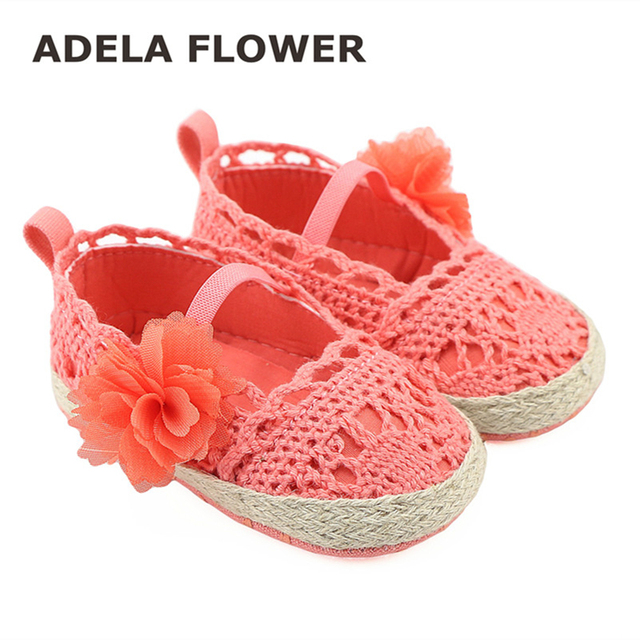 4b6852b13f05a Crochet Coral Pram Shoes Espadrille Sandals Lace Toddler Princess Newborn  Baby Girls Prewalker Flower Knitting Shoes Footwear