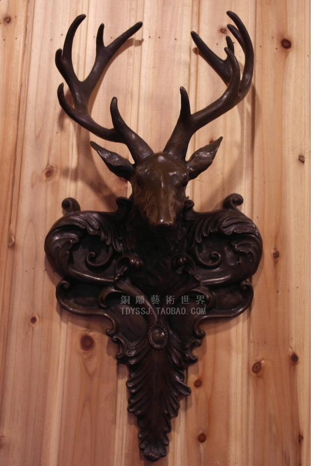 Old antique Bronze Arts & Crafts Deer copper sculpture crafts wall hangings wall decoration home accessories gift