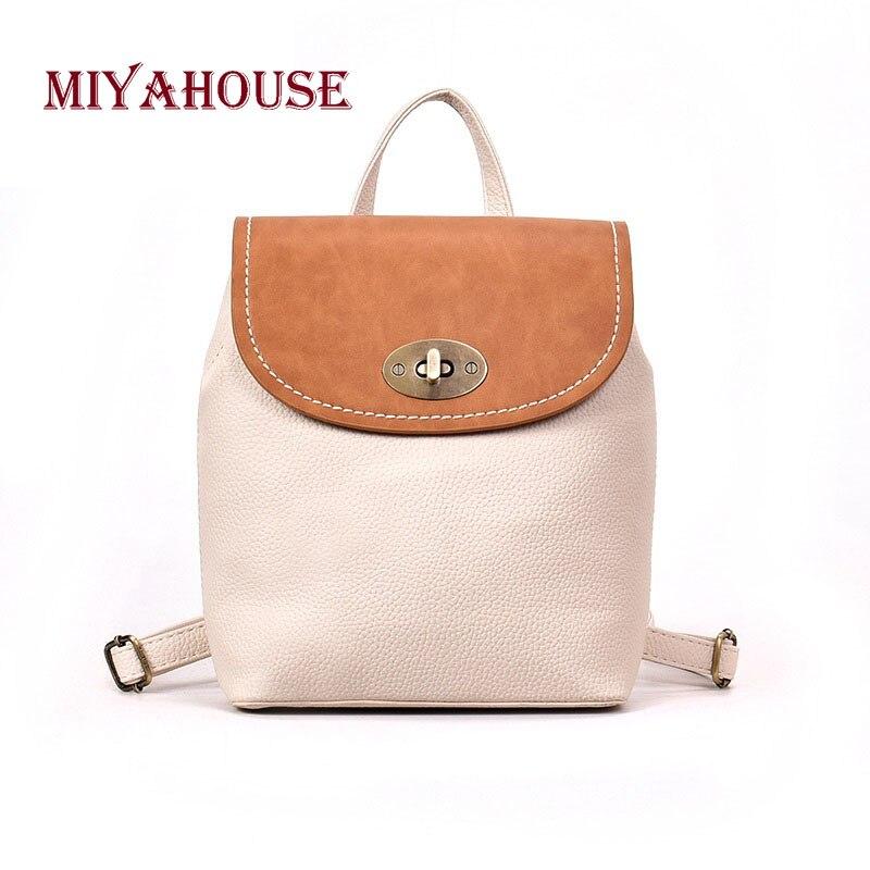 Miyahouse Лидер продаж Для женщин рюкзак хит Цвет небольшие дорожные рюкзаки для женщин Повседневное Портативный рюкзак из искусственной кожи