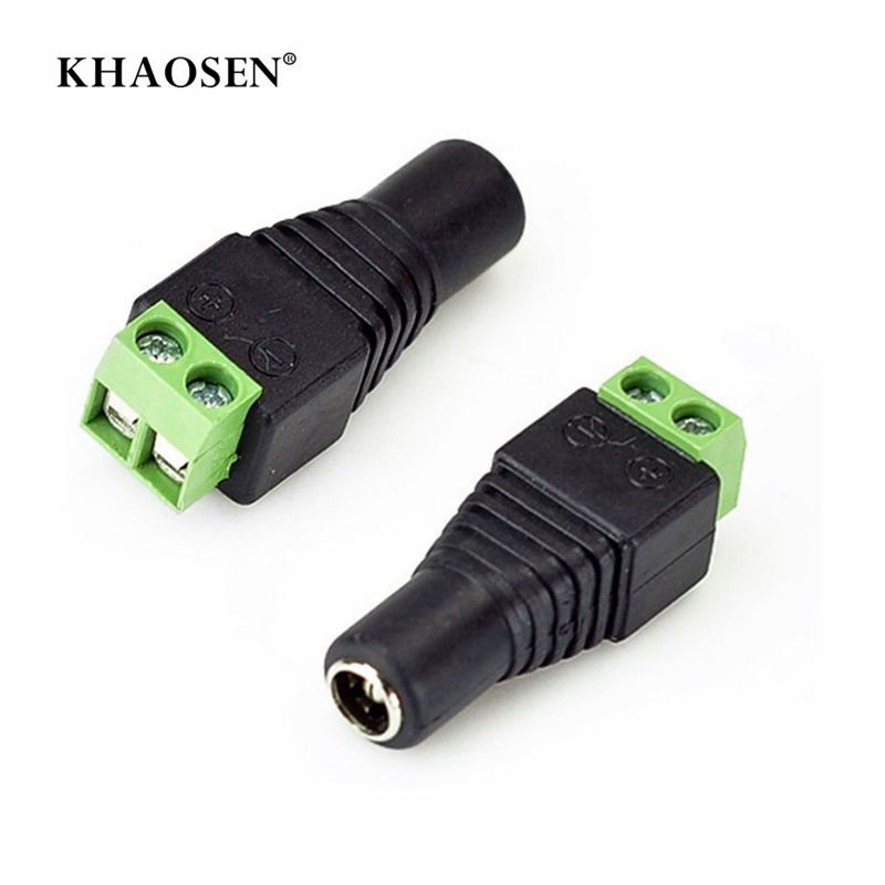 DC Power Female Plug Jack Adapter Connector Plug 2.1 X 5.5mm  KS  For CCTV Single Color LED Strips 5050 3528 5630 3014 SMD