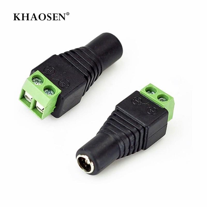 DC Power Female Plug Jack Adapter Connector Plug 2.1 X 5.5mm  KS  For CCTV Single Color LED Strips 5050 3528 5630 3014 SMD