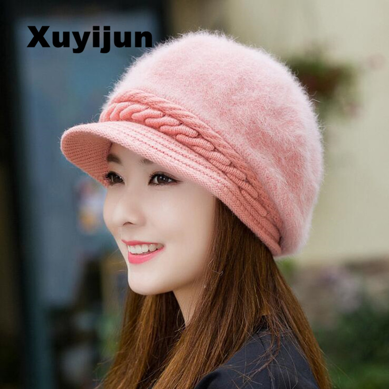 XUYIJUN Mink and Fox fur ball cap winter hat women hat girl knitted hats skullies beanies brand new thick female cap real mink pom poms wool rabbit fur knitted hat skullies winter cap for women girls hats feminino beanies brand hats bones