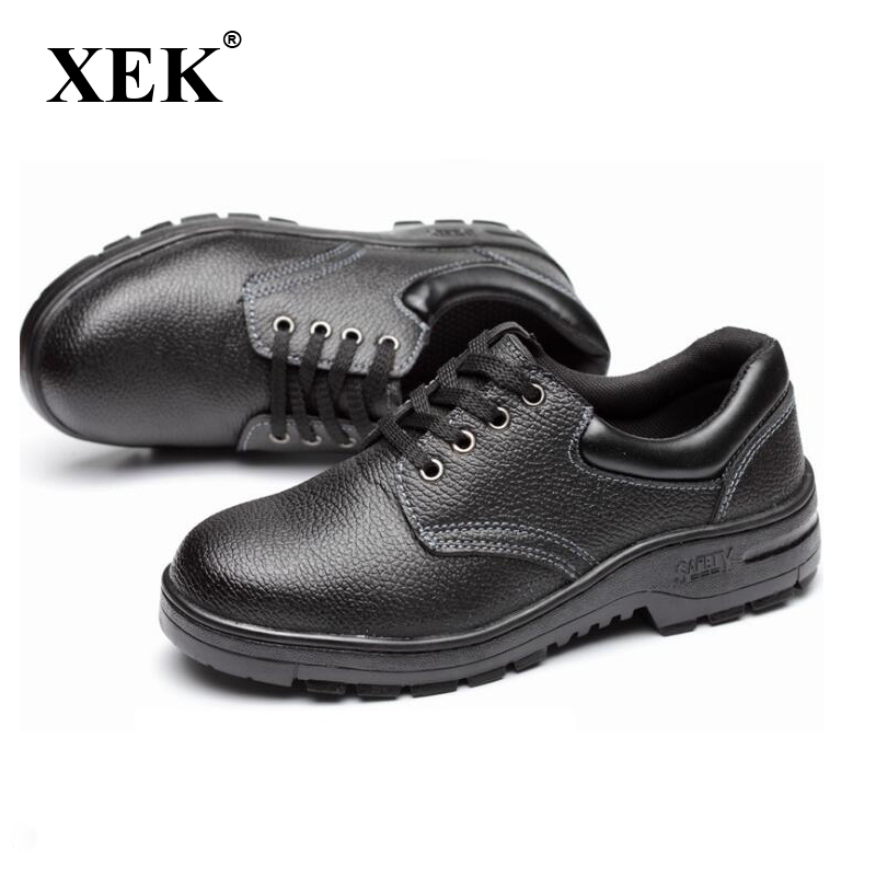 XEK Men steel Anti-smashing Shoes Steel Toe Caps Safety Shoes Wear-resistant Anti-slip Work Shoes st295 big size for men boot safety protective shoes cover man rubber safety shoes cover non slip anti smashing steel toe work shoes