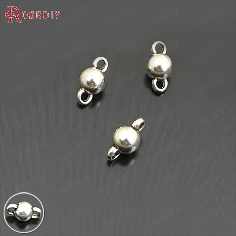 (26463)50PCS 11x6MM 14x8MM Antique Silver Zinc Alloy 2 Holes Connect Ball Diy Jewelry Findings Accessories Wholesale