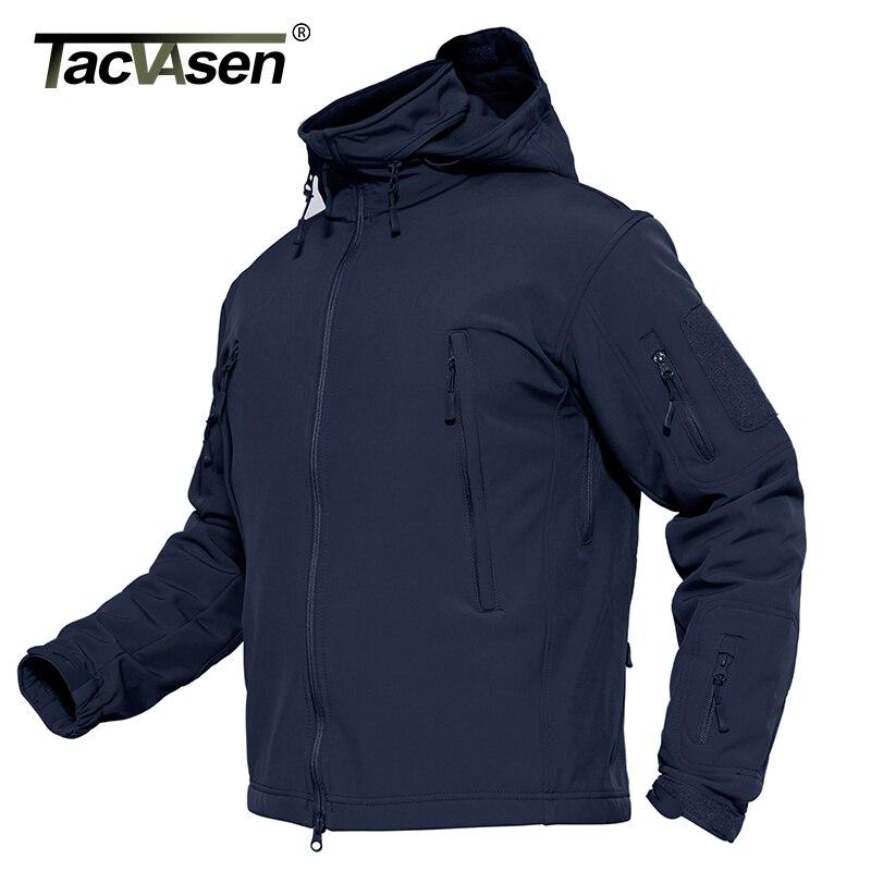 TACVASEN Для мужчин военные куртки пальто Водонепроницаемый Тактический зимняя куртка Soft Shell Куртки для охоты армии съемный ветровка с капюшон...