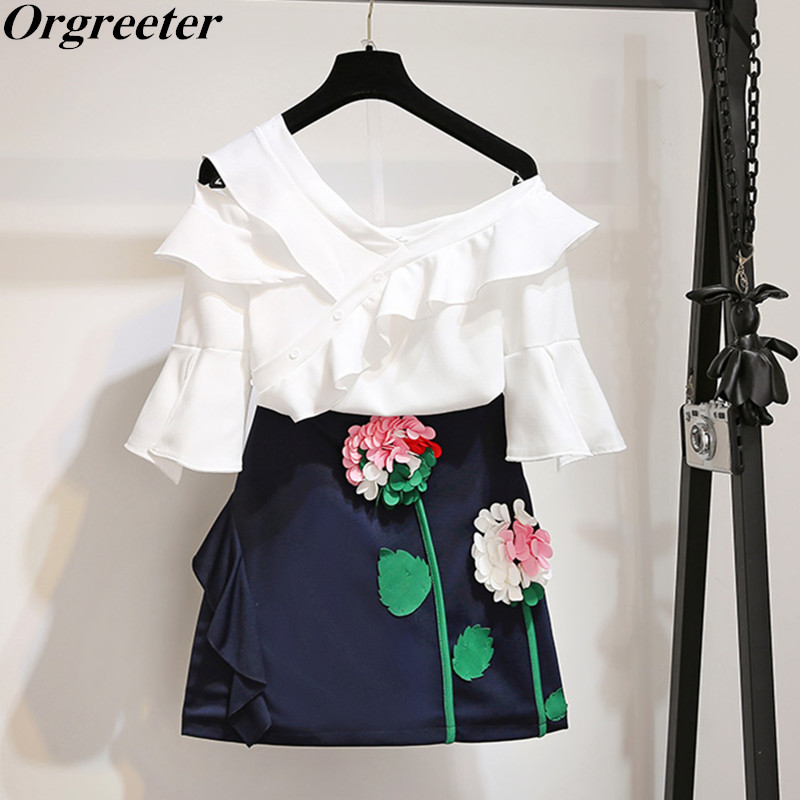 2 Piece Set Women's Tracksuit Sets Sexy One shoulder Ruffles Chiffon Tops and 3D Flower Embroidery Mini Skirt Sets