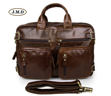 J.M.D Classic Design Genuine Vintage Leather Mens Briefcase Multifunction Handbag Multi-Compartment Messenger Bag 7026C