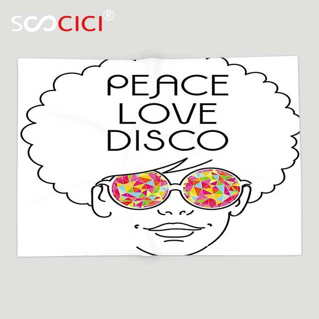 423310db10 Custom Soft Fleece Throw Blanket 70s Party Decorations Drawing of a Girl  with Afro Hair and Kaleidoscopic Glasses Hippie