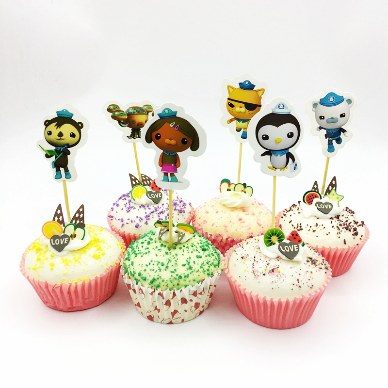 72pcs Cartoon Underwater rescue Submarine Penguin Cat Monkey Cupcake Toppers Pick Kids Birthday Party Cake Decoration Supplies
