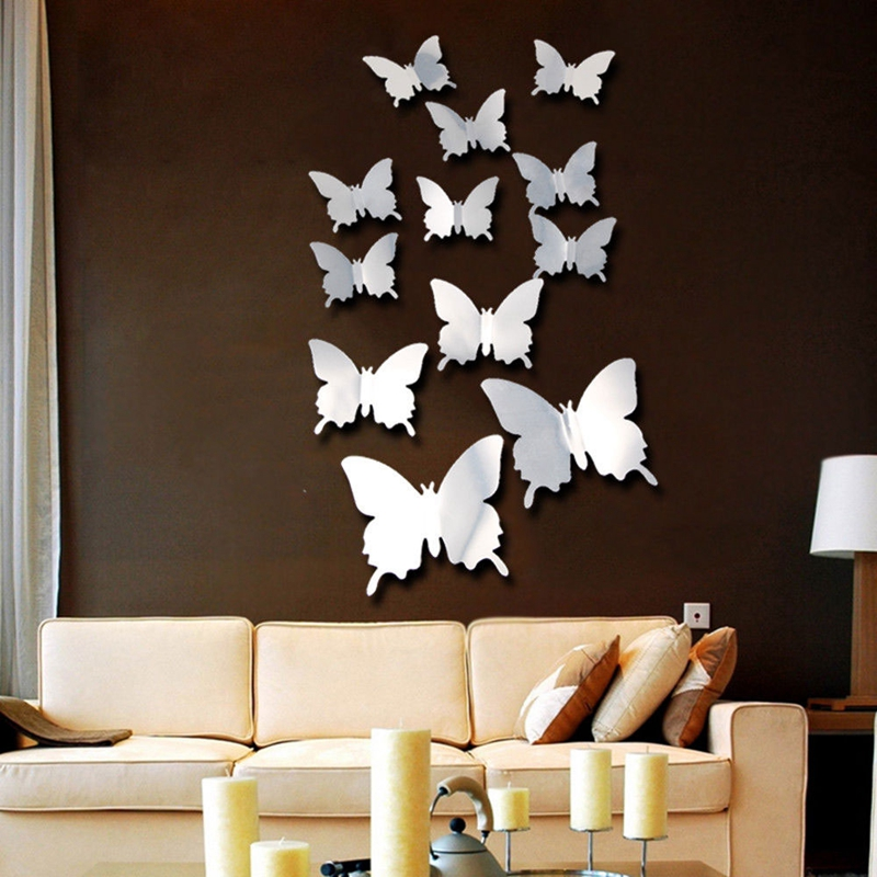PVC 12pcs/Set Butterflies Decal Nursery Wallpaper 3D Mirror Wall Sticker For Home Decor DIY Wedding Background Gift Creative Wall Sticker