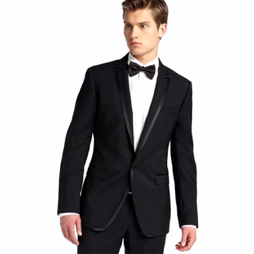 Real Photo Men traje elegante negro trajes de boda para