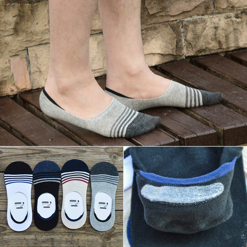 NoShow Non Slip Mens Socks Casual Soft Cotton Sock Boat Non-Slip Invisible No Show Socks 4 Pairs