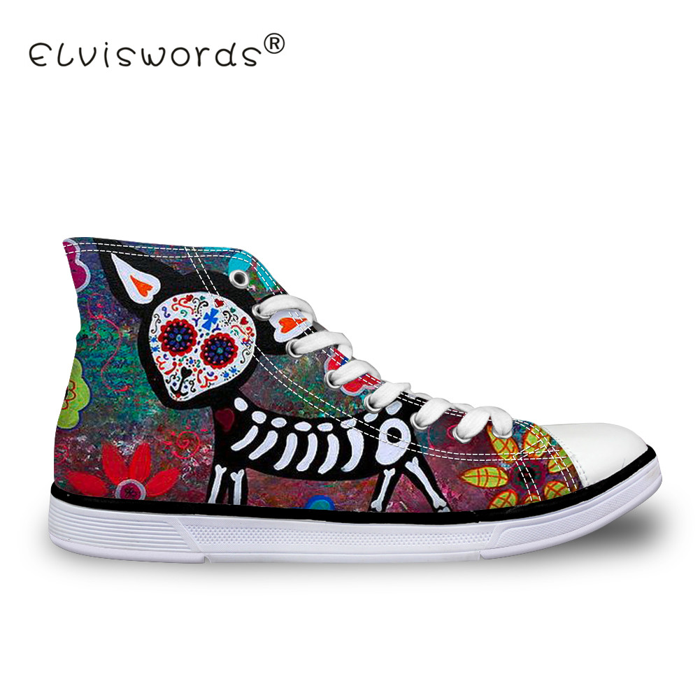 ELVISWORDS Skull Dogs Funny Women's Vulcanize Shoes High Top Canvas Shoes for Girls Lady Skull Pattern Sneakers