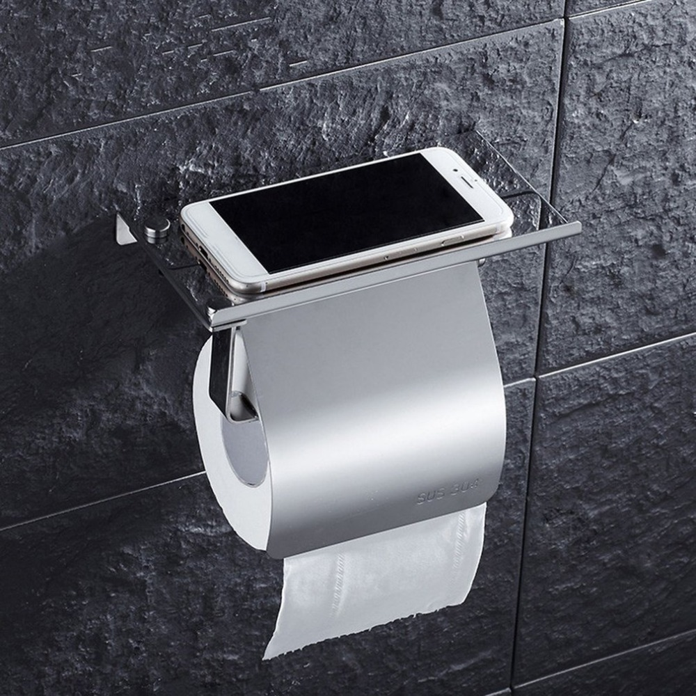 New Stainless Steel Anti-rust Tissue Holder Wall Mounted Hanging Rack Roll Paper Towel Holder Bathroom Toilet Home Supplies