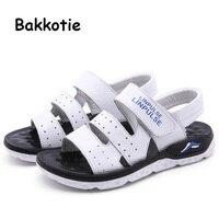 Bakkotie 2019 verano nuevos bebés moda sandalias de cuero genuino niños pequeños zapatos casuales negros zapatos de playa suaves para niños