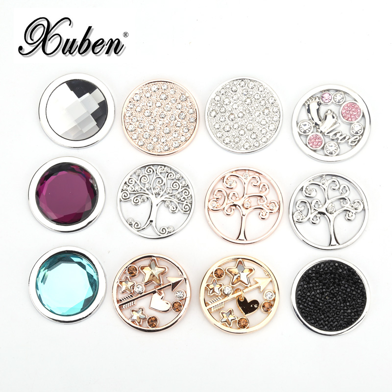 Xuben 33 Mm Coin For 35 Mm  Coin Necklace Pendant Mix Color Style Black Blue Red Crystal