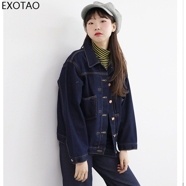51b3ac872 EXOTAO Bomber Denim Jacket Women Brief Turn Down Collar Dark Blue Full  Sleeves Jaqueta Feminina Short Oversized Slim Jeans Coat-in Basic Jackets  from ...